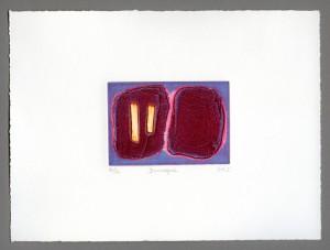 Duologue-carborundum-mini-textured-embossed-golden-crimson-lilac-abstract-Deborah-Treliving-contemporary-British-artist