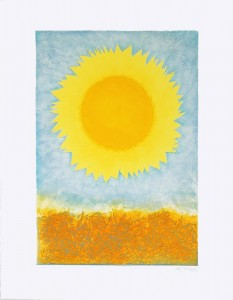 Golden-Sunflower-A5-150x210mm-cheerful-bright-greetings-card-landscape-Deborah-Treliving- contemporary-British-artist