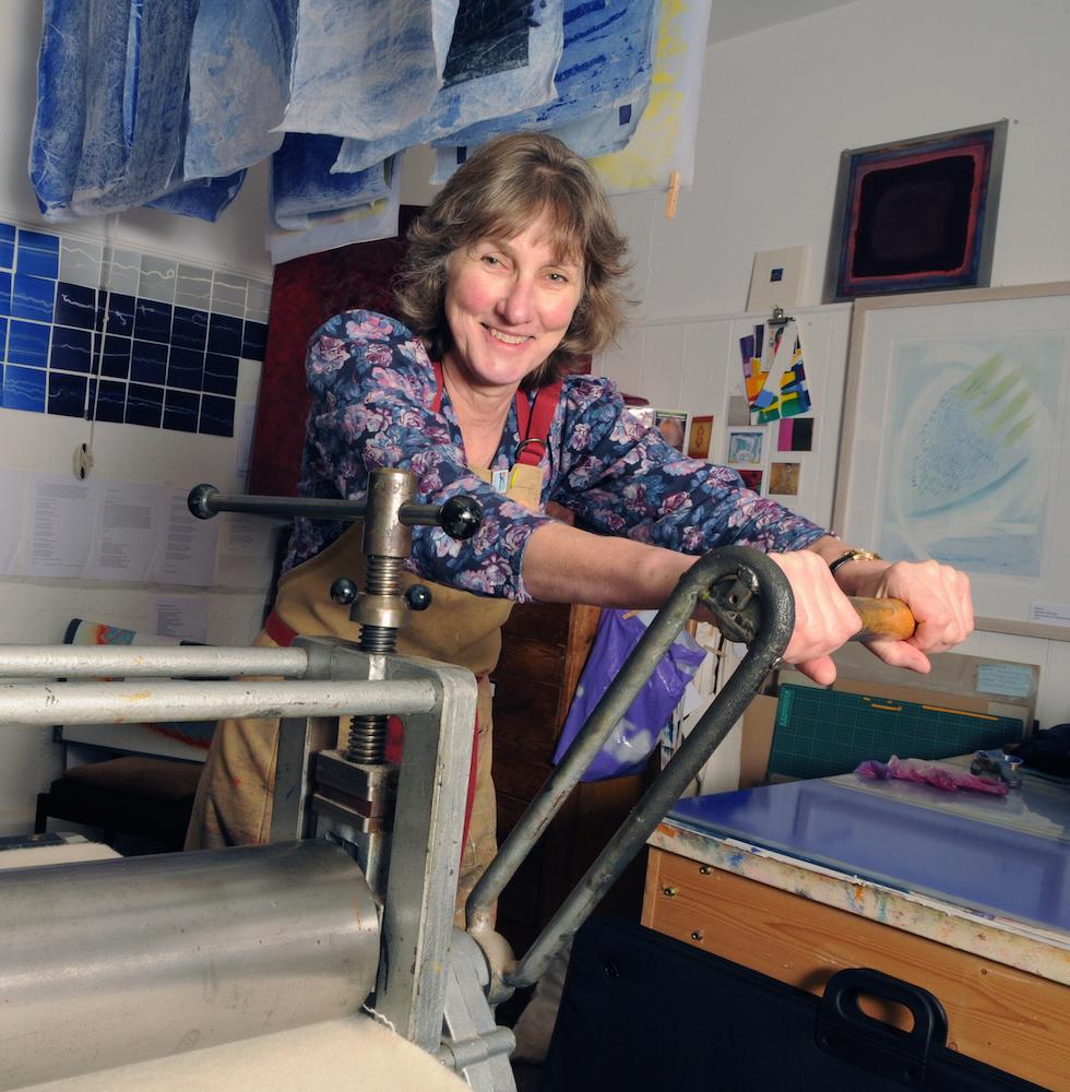 Printing-using-the-press-with-monotypes-hanging-up-to-dry-Deborah-Treliving-contemporary-British-artist