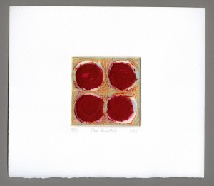 Red-Quartet-carborundum-mini-textured-embossed-red-refrain-dark-rose-abstract-Deborah-Treliving-contemporary-British-artist