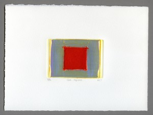 Red-Square-carborundum¬-mini-textured-embossed-velvety-vermilion-red-squared-chromatic-greys-golden-abstract-Deborah-Treliving-contemporary-British-artist
