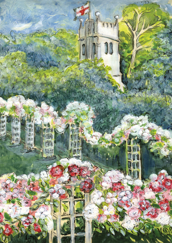 Rose-Garden-greeting-card-A5-cheerful-rose-arbour-church-tower-garden-landscape-Deborah-Treliving-contemporary-British-artist