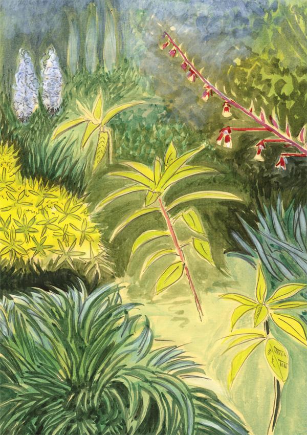 Enchanted-Garden-greeting-card-A5-watercolour-garden-English-landscape-Deborah-Treliving-contemporary-British-artist