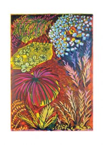 Hydrangeas-A5-greeting-card-A5-cheerful-bright-garden-landscape-Deborah-Treliving-contemporary-British-artist