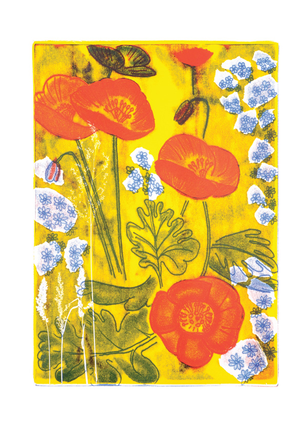 Poppies-greeting-card-A5-cheerful-golden-bright-garden-landscape-Deborah-Treliving-contemporary-British-artist