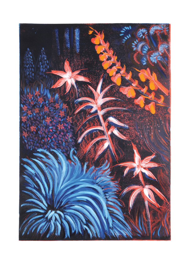The-Night-Garden-greeting-card-A5-blue-midnight-garden-landscape-Deborah-Treliving-contemporary-British-artist